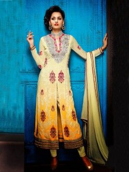 Light Cream And Yellow Georgette Suit With Zari Embroidery And Handwork www.saree.com