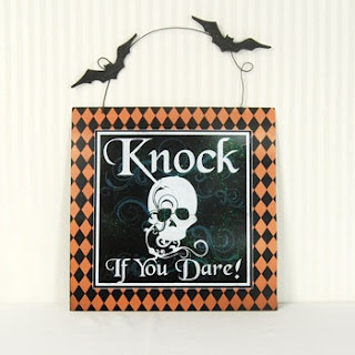 Knock If You Dare Skeleton and Bats Harlequin Sign