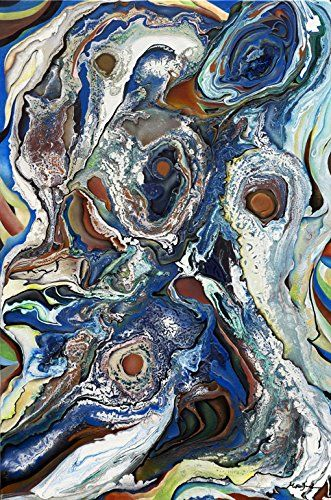 """The Monsters Within (Print - 15x10 in). An abstract eruption of moody blues and echoing earth tones that explore the emotions and chaos of the inner mind. The painting embodies the anarchy of multiple personalities, otherwise known """"The Monsters Within""""."""
