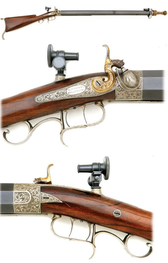 An engraved percussion muzzleloading target rifle crafted by L.W. Tisdel of Scranton, PA. Mid 19th century.