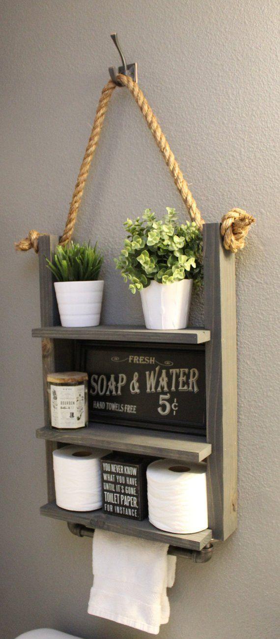 Bathroom Farmhouse Ladder Shelf Industrial Towel Bar Rustic | Etsy   – Mom