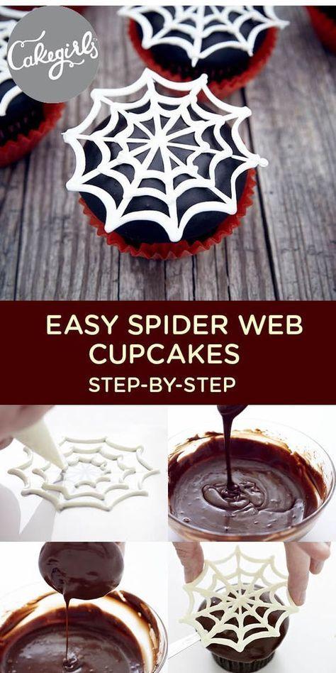 Easy Spider Web Cupcakes | www.thecakegirls.com | #halloweencupcakes