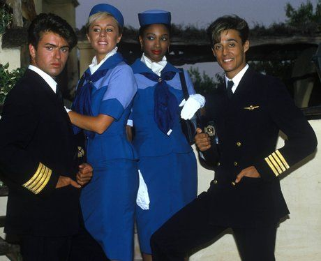 "*WHAM*-George Michael,Andrew Ridgeley,Pepsi Demacque,Shirlie Holliman- As they featured in ""Club Tropicana"" Music Video"
