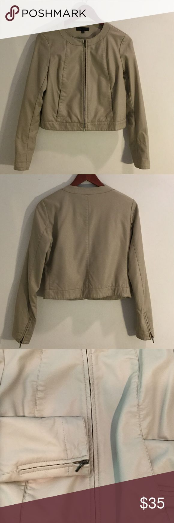 Beige Leather jacket Beige faux leather jacket like new with zipper sleeve detail. Goes great with everything!!! Size smalll Uniqlo Jackets & Coats