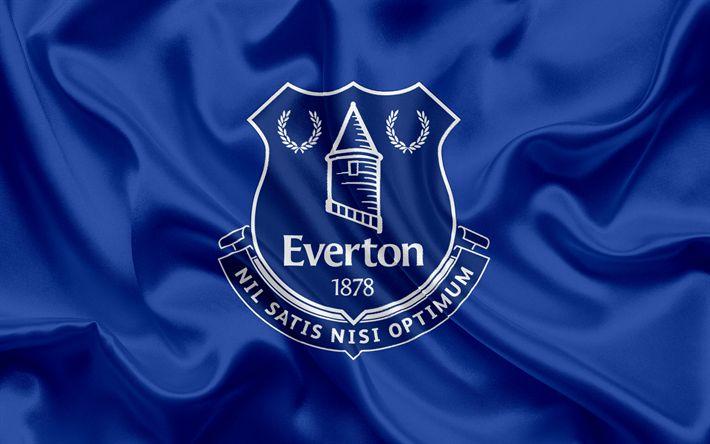 Télécharger fonds d'écran Everton, Club de Football, Premier League, le football, Liverpool, royaume-Uni, Angleterre, drapeau, emblème, logo, club de football anglais