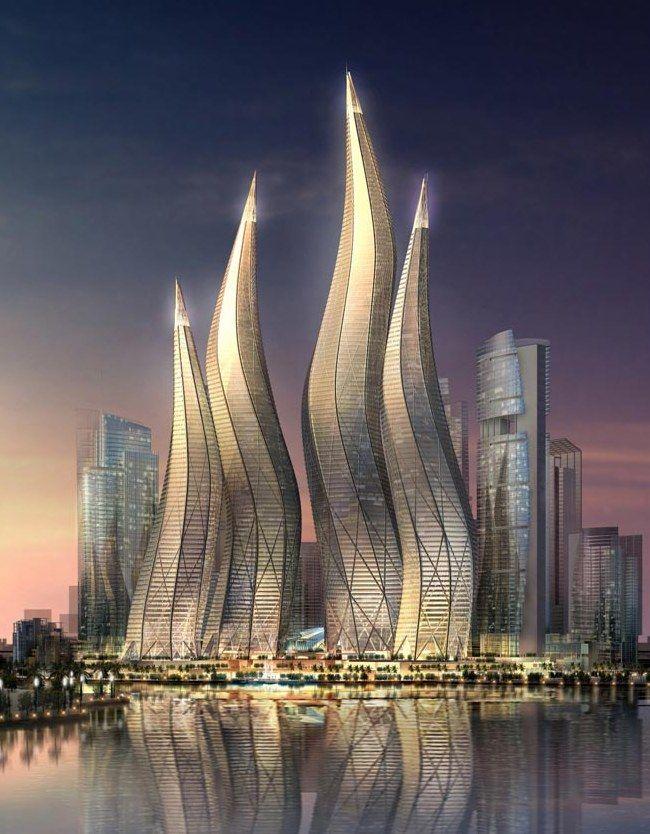 """DUBAI TOWER Esta obra maestra será una adición al distrito llamado """"The Lagoons"""", ubicado en la ciudad de Dubai. Diseñada por el estudio """"Thompson, Ventulett, Stainback and Associates"""" Las torres tendrán una altura de 57 a 94 pisos de alto y el punto más alcanzará los 400 metros (1310 pies). Rodeadas por siete verdes lagunas ofrecerán una vista panorámica al mar, amplias y lujosas oficinas, un hotel 6 estrellas, restaurantes, cafés, gimnasios, spas, departamentos y grandes parques ."""