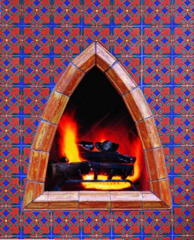 Keyhole Moorish tile outdoor fireplace is also a pizza oven.  www.karlaluckow.com www.facebook.com/helpingmehome