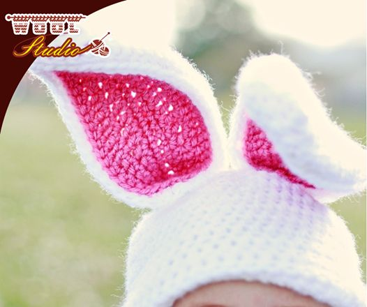 Crochet you baby this cute soft Bunny Hat: http://ablog.link/5E1, remember to pick up all your favourite crochet yarn from #WoolStudio. #Crochet #Patterns