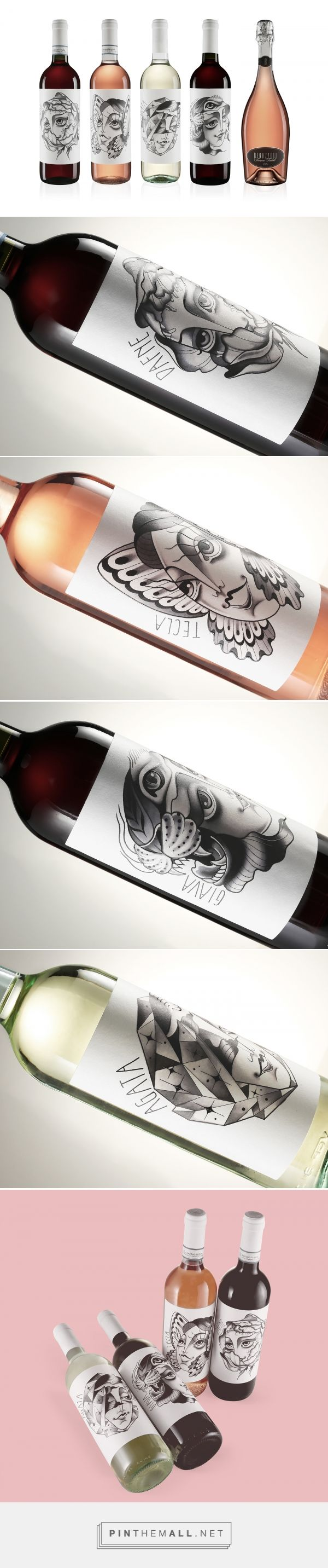 Benazzoli wine packaging on Behance by  Stefano Torregrossa Verona, Italy curated by Packaging Diva PD. Each wine represented by an illustration whose style is evocative, dreamlike and magical. Four imaginary women have a name and have their own single character, their own style and their own truly personal taste.