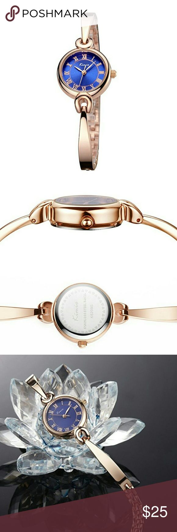 Luxury Rose Gold Watch Lady Elegant Luxury Rose Gold Watch Lady Elegant Bracelet watch.About this item ELEGANT SIMPLE DESIGN: 0.91?(2.3cm) diameter rose golden tone watch case with same color index Roman number hour markers and sword hands, royal blue dial with exquisite bracelet band, effortlessly elegant and luxury, showing the time clearly NOT EASY TO FADE: we use high technology to plate the rose golden color and guarantee the color will last for long time, also, it is scratch resistant…