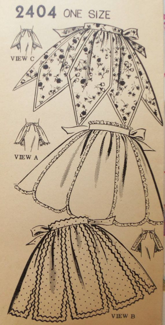 Vintage 1955 Mail Order 3 CUTE Half APRONS Pattern COMplete on Etsy, $18.00