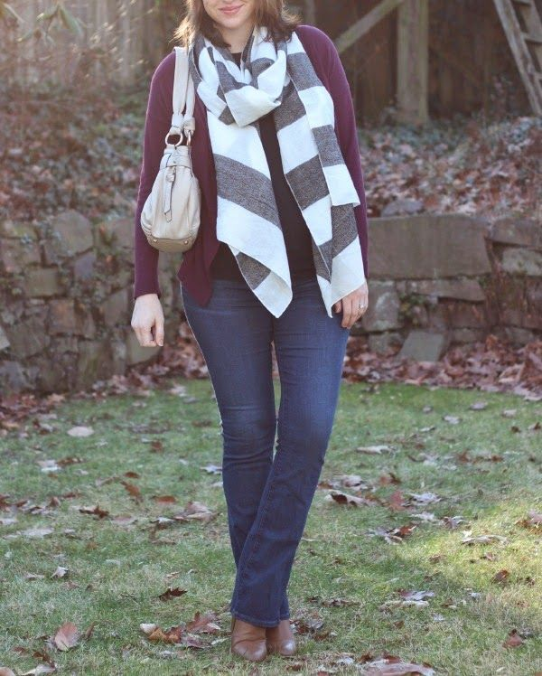 See What Katie Wears: Striped Blanket Scarf Maternity Outfit