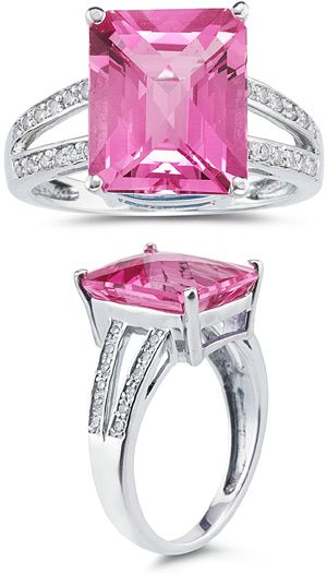 applesofgold.com - 7.00 Carat Emerald Cut Pink Topaz and Diamond Ring Retail Value: 625.00  Price: $409.00