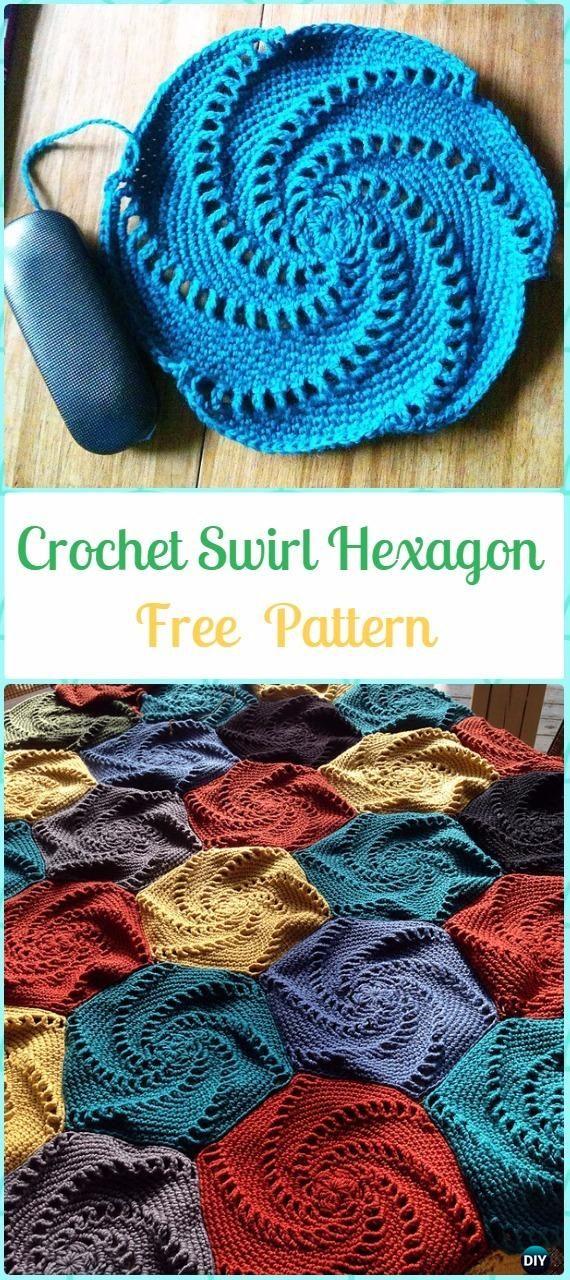 Crochet Swirl Hexagon Free Pattern -Crochet Hexagon Motif Free Patterns