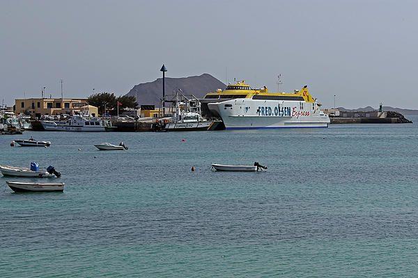 Ferry in Corralejo harbour, Fuerteventura, The Canary Isles.