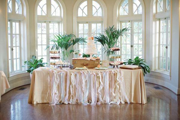 Vintage cake table display.  Tulsa Garden Center Wedding. Vintage Spring Wedding Ideas - Heart Love Weddings