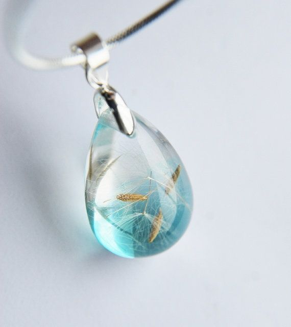 Dandelion pendant resin Teardrop...pinned by ♥ wootandhammy.com, thoughtful jewelry.