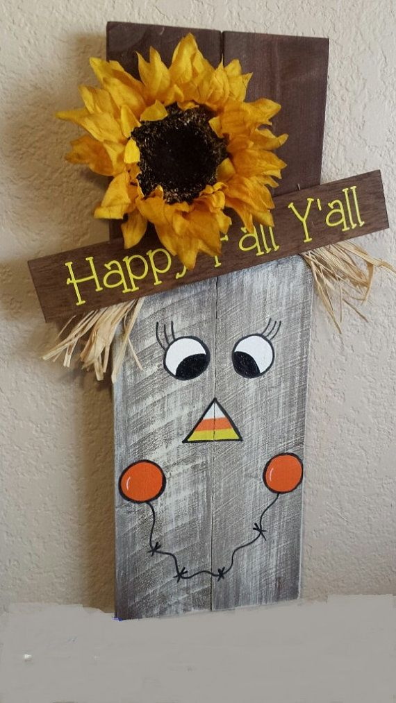 Painted Pallet Wood Happy Fall Y'all Scarecrow, Halloween Decor, Fall Door Hanger