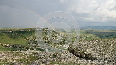 Mountain with a rainbow in the Crimea