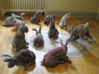 'dust bunnies' - recycled lint bunnies for Easter
