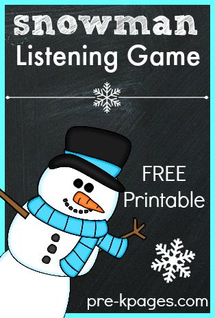 Printable Snowman Listening Game for Kids. Fun movement game to help develop important listening skills at home or in the classroom.