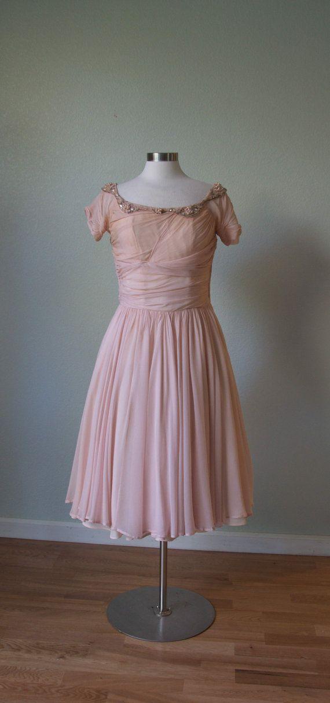 1950s Ceil Chapman Silk Chiffon Party Dress by KittyGirlVintage