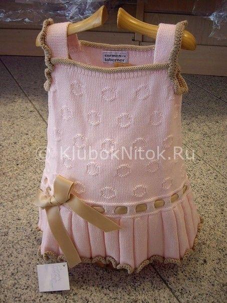Платье с рюшами | Вязание для девочек | Вязание спицами и крючком. Схемы вязания.