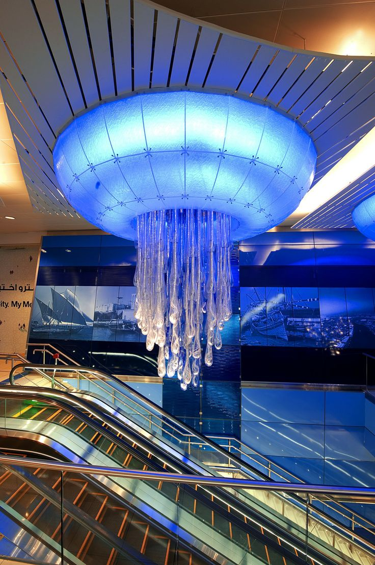 """Dubai Metro - The beautiful Water lighting sculpture graces the ceilings of the Khalid Bin Al Waleed Station. Two parts make up Water, which has come to be coined """"a giant jellyfish"""" by the public."""