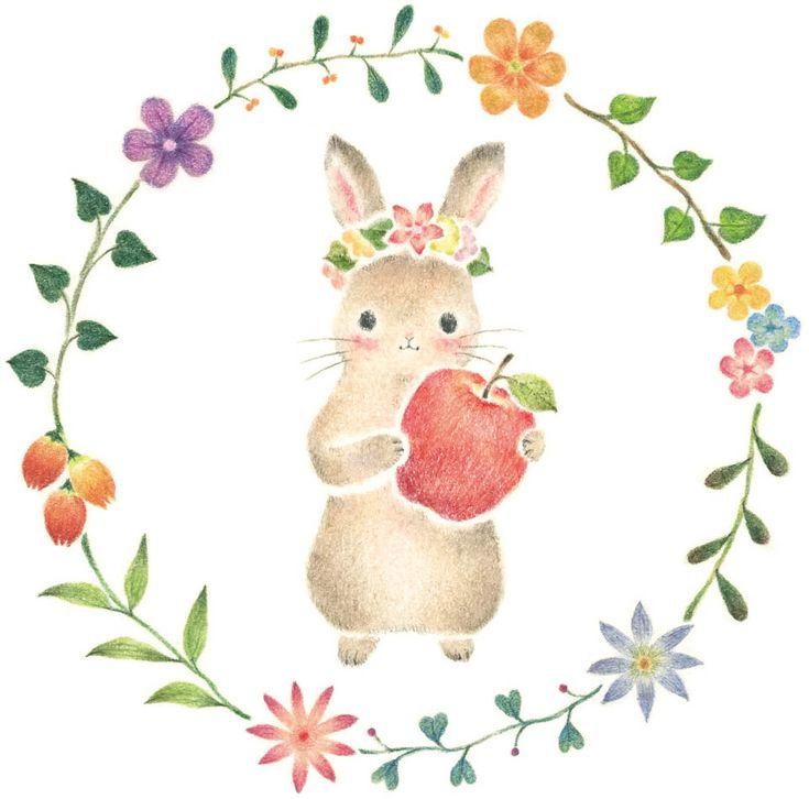 """""""Little Rabbit's Moca in Wreath"""" −RiLi, picture book, illustration, design ___ """"花の輪のこうさぎモカ"""" −リリ, 絵本, イラスト, デザイン ...... #illustration #rabbit #wreath #イラスト #うさぎ #花輪"""