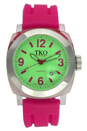 TKO ORLOGI Womens TK508GF Milano Plastic Case and Fuchsia Rubber Strap Watch >>> You can get more details by clicking on the image.