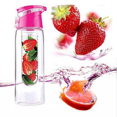 800mL Fruit Water Bottle Juice Infuser Infusing Sports Health Flip Lid BPA Free