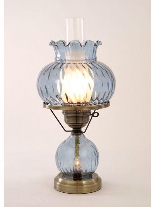 Hurricane With Rhombus Optic Blue Glass Lamp #HurricaneWith