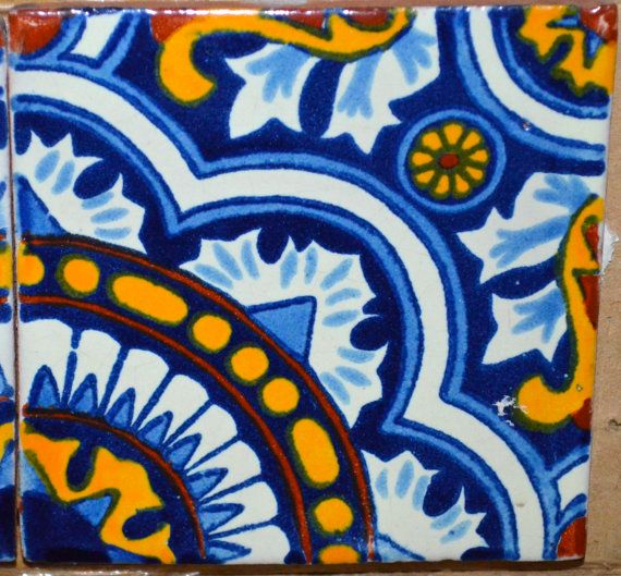 "90 Mexican Talavera Tiles handmade, Hand painted 4 ""X 4"""