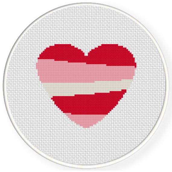 FREE for March 24th 2016 Only -  Heart Stripe Cross Stitch Pattern