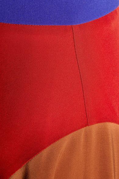 Roksanda - Askel Asymmetric Color-block Crepe Skirt - Brick - UK12