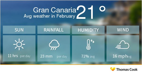 If you don't want to be caught out by surprise weather in Gran Canaria in February, then use our holiday weather guide to help plan your holiday wardrobe.