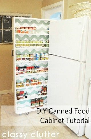 DIY Canned Food Organizer – Build your own extra storage!  With a few boards, a couple of wheels and a little time, you can put an end to all of your kitchen storage problems by building your own hideaway storage for canned foods. This is a pull-out shelf that you can hide beside your fridge. You just pull it out when you need something and then hide it away when you don't.