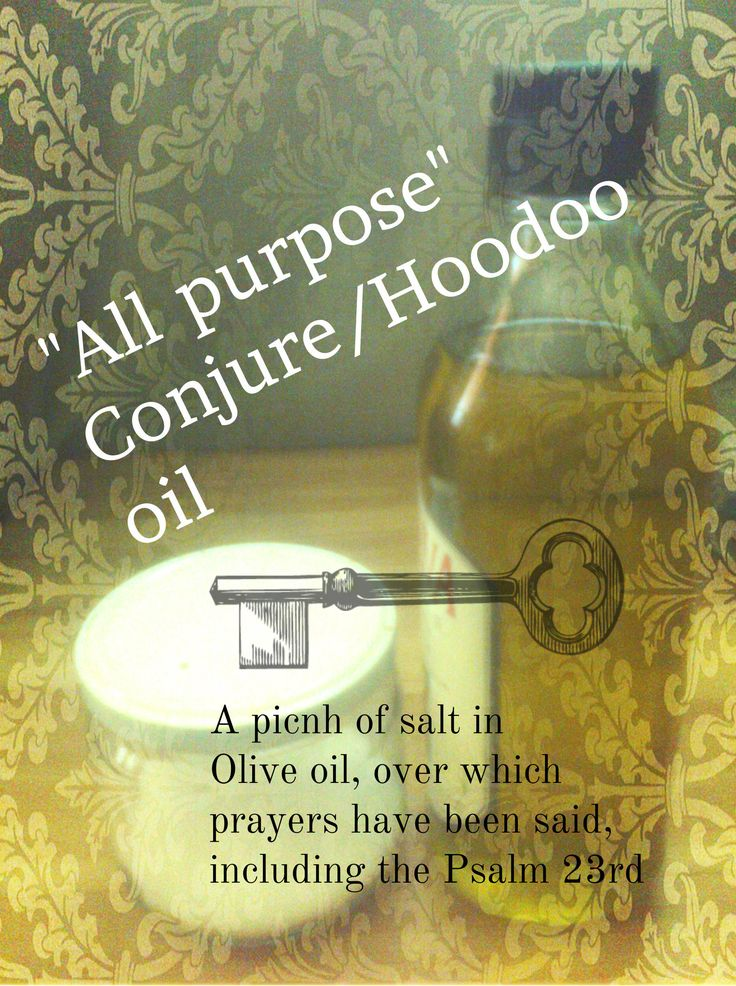 Hoodoo all purpose oil is a simple and powerful formula that requires but a few ingredients, but has to be prayed over. I pray various combinations of prayers over it, such as Psalm 23rd, 91st , Prayer to the Venerable Cross and others, after which I leave it on my altar for some time, before using it. More about it You can read here : http://shadowsmagickplace.blogspot.com/search/label/Recipes%20and%20Formulas