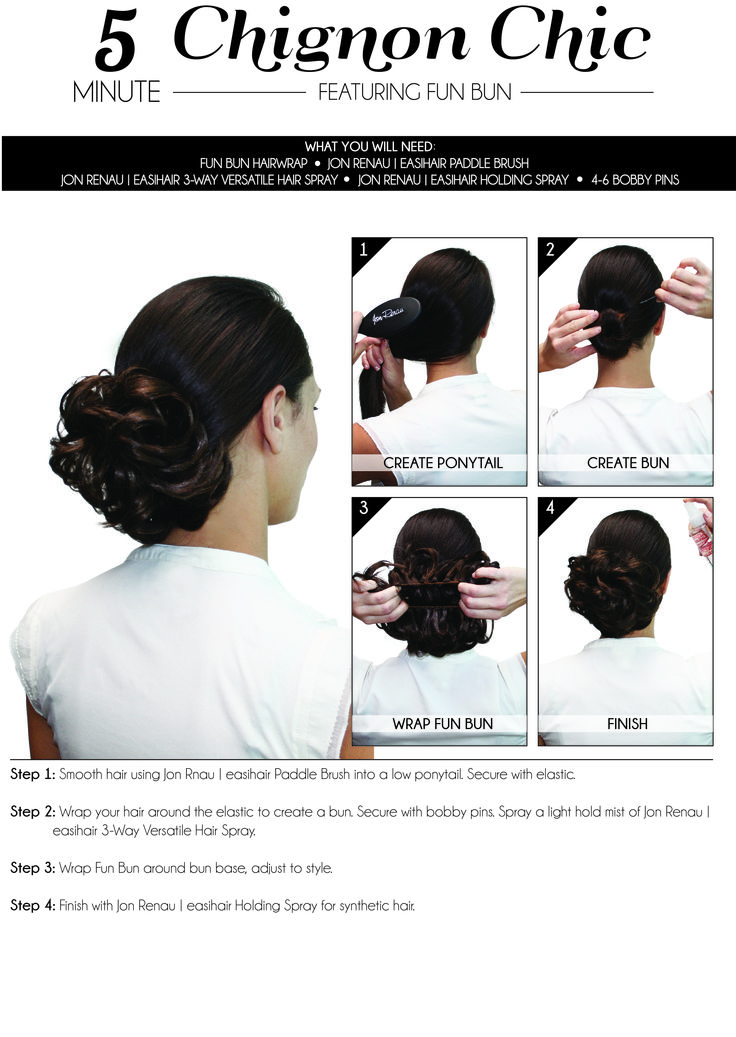 "How to apply the ""Fun Bun"" hairwrap for a 5-minute chignon chic look! #hairadditions #synthetichair #humanhair"
