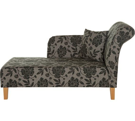 Buy HOME Floral Fabric Chaise Longue - Charcoal at Argos.co.uk - Your Online Shop for Sofas, Living room furniture, Home and garden.