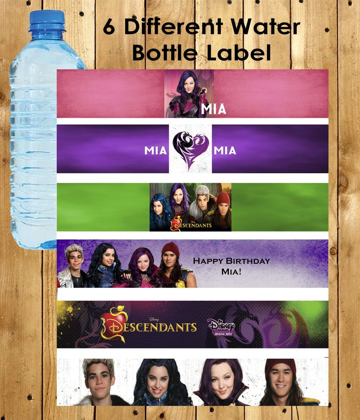 The Descendants Personalized Water Bottle Labels