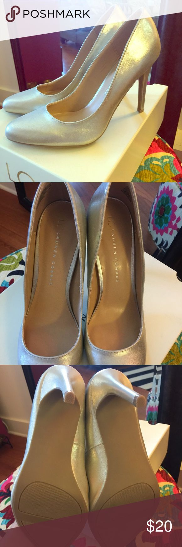 Lauren Conrad Gold Pumps NWT LC gold pumps- 4 inch heels, never worn- still in box. I bought from another posher but they are too big for me. LC Lauren Conrad Shoes Heels
