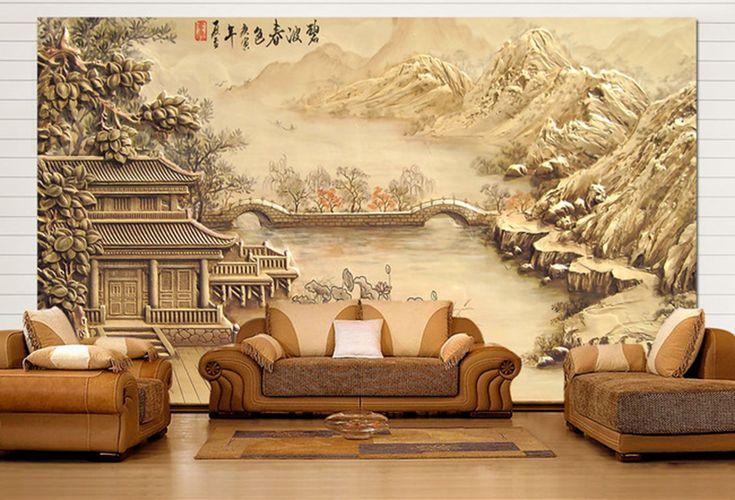 papier peint asiatique en relief aspect ancien maison au bord de la rivière