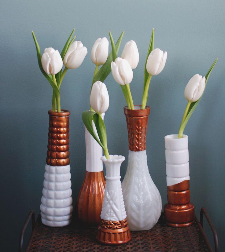 Copper Dipped Milk Glass Vases