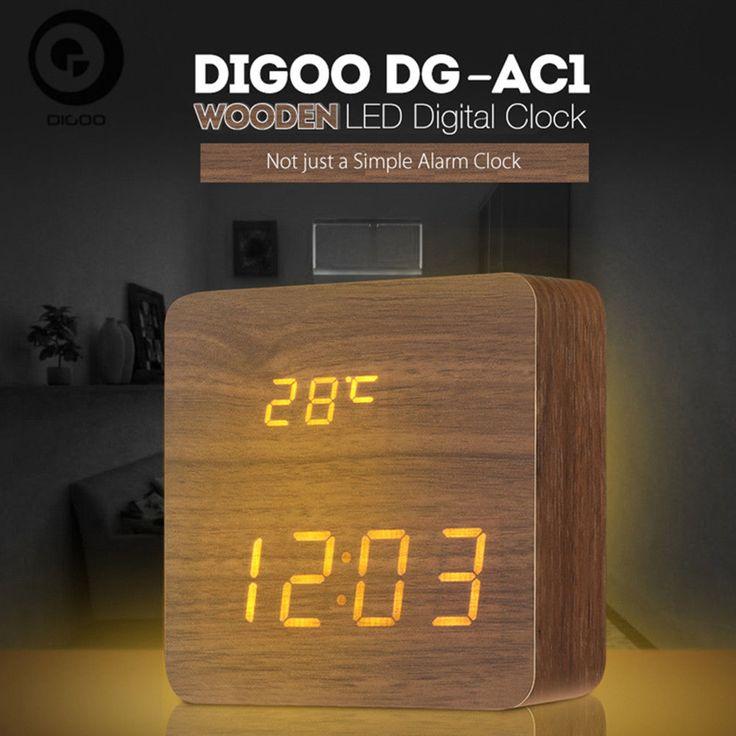 Digoo DG-AC1 Wooden LED Digital Alarm Clock Voice Control Desk Clock Thermometer   Home & Garden, Home Décor, Clocks   eBay!