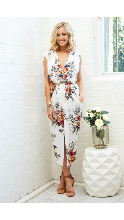 Hamptons Drape Dress in White with Red and Yellow Floral