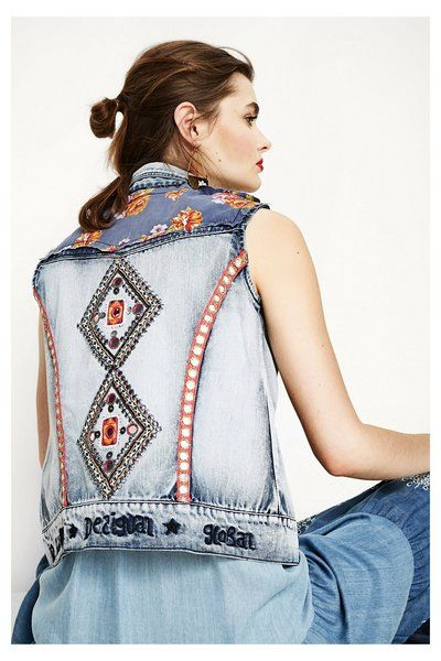 Desigual Vest sleeveless Aloha Exotic light denim licht jeans spijkerstof mouwloos