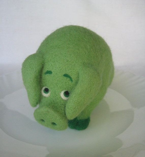 Don't eat me Pig - needle felted soft sculpture - Feltedcreatures, Etsy