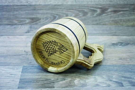 Personalized Wooden Beer Mug personalized engraving от DecoLazer