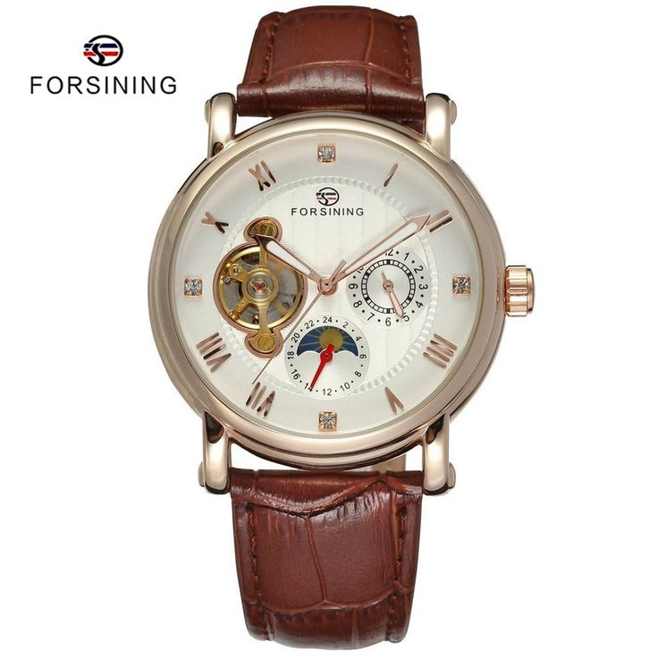 Find More Mechanical Watches Information about 5 Colors FORSINING Brand Luxury Tourbillon Leather Mens Automatic Mechanical Watches for Men Moon Phase Clock erkek kol saati,High Quality leather watch bracelet,China watch circle Suppliers, Cheap leather watch from YIKOO Watches Store on Aliexpress.com